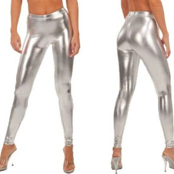 Shiny silver metallic leggings product image