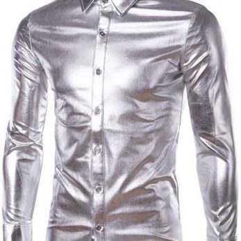 Shiny sliver metallic long sleeve button down shirt