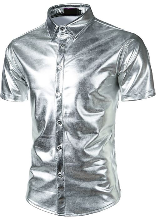 Shiny silver metallic short sleeve oxford button up product picture